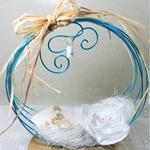 porte alliances mariage coquillages turquoise blanc