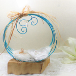 porte alliance mariage turquoise blanc coquillage
