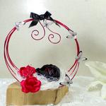 Porte alliances mariage rouge et noir papillons panier fait main personnalisé