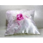 Coussin pour alliances satin strass rose poudré blanc