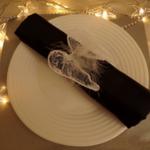 rond de serviette ailes d'ange mariage bptême communion noel