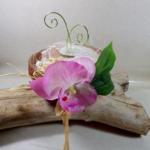 porte alliances coquillages mariage tropical orchidée noix de coco