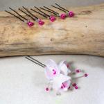 pics à chignon mariage fleur perle fuchsia blanc personnalisé