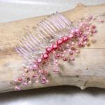 Peigne à chignon mariage perles rose