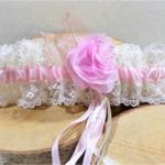 jarretière de mariée dentelle ivoire rose fait main mariage romantique champetre boheme vintage