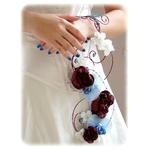 Bouquet de mariée chocolat turquoise satin fil aluminium 3