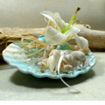 accessoire mariée coquillage mariage turquoise blanc