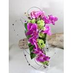 bouquet cascade mariée fleurs artificielles orchidée fuchsia fil aluminium perles