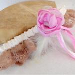jarretière mariage champetre boheme romantique dentelle plumes rose fait main