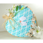 urne coeur mariage dentelle turquoise coquillage