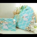 ensemble urne livre d'or mariage la mer coquillage dentelle turquoise blanc personnalisé
