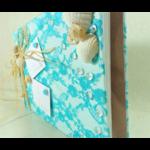 livre dor album photo mariage turquoise blanc coquillage