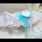 jarretière mariage papillon turquoise blanc dentelle personnalisée