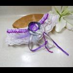 jarretière de mariée papillon blanc mauve personnalisée