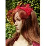 serre-tête voilette bibi dentelle rouge