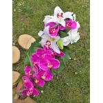 bouquet mariée orchidée cascade lys roses fuchsia blanc fleurs artificielles