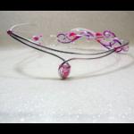 collier mariée fleurs tiaré rose blanc violet