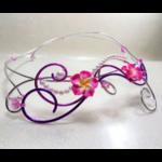 collier mariage fleurs tiaré rose blanc violet