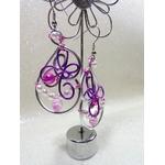 boucles doreilles fil alu violet rose argent