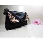 pochette cérémonie léopard satin noir fait main