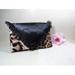 pochette soirée léopard satin noir fait main