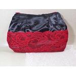 sac pochette satin dentelle rouge et noir fait main