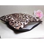 trousse pochette xxl léopard fait main