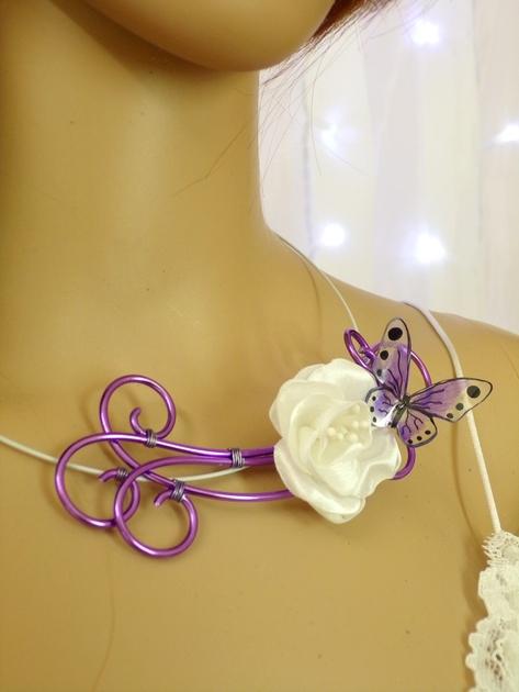 Collier mariée  papillon fleur blanc