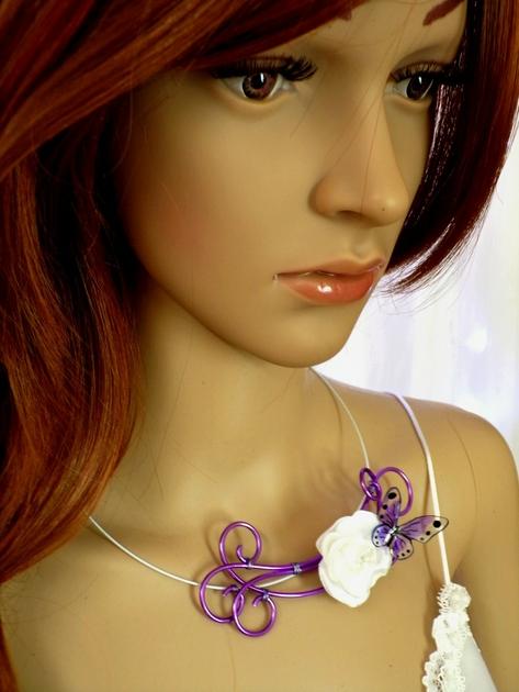Collier papillon fleur mariée fil aluminium