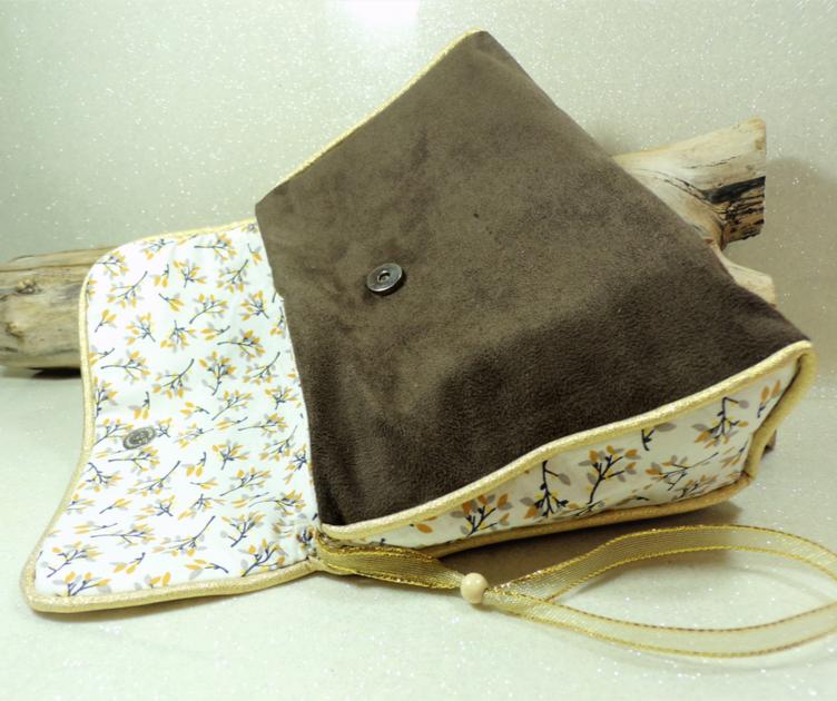 sac à main soirée mariage doré marron chocolat fait main