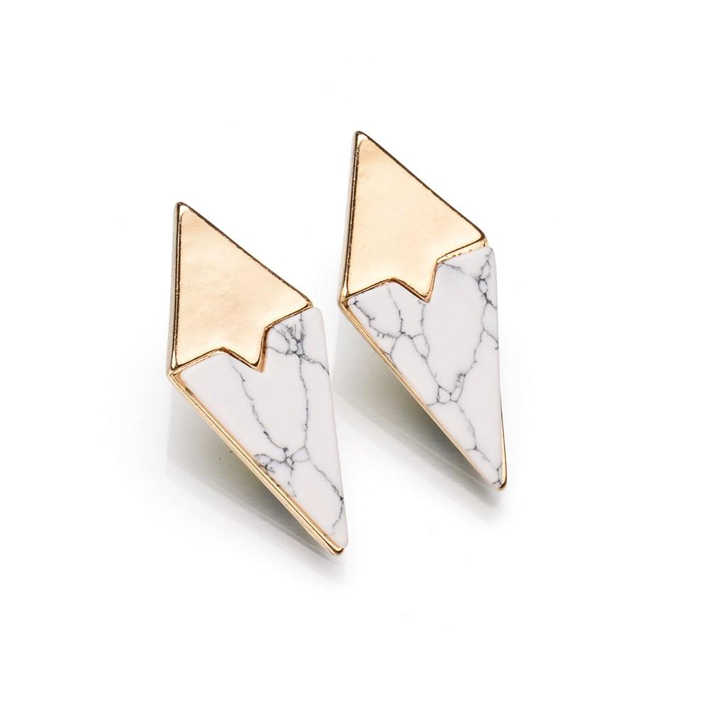 Boucles d\'oreilles géométriques or et marbre