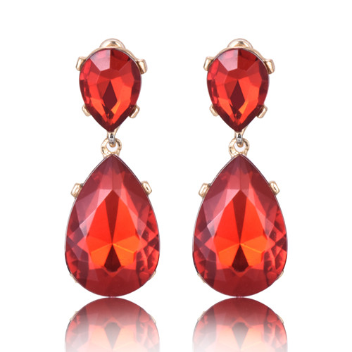 Boucles d'oreilles effet pierres de Crystal rouges