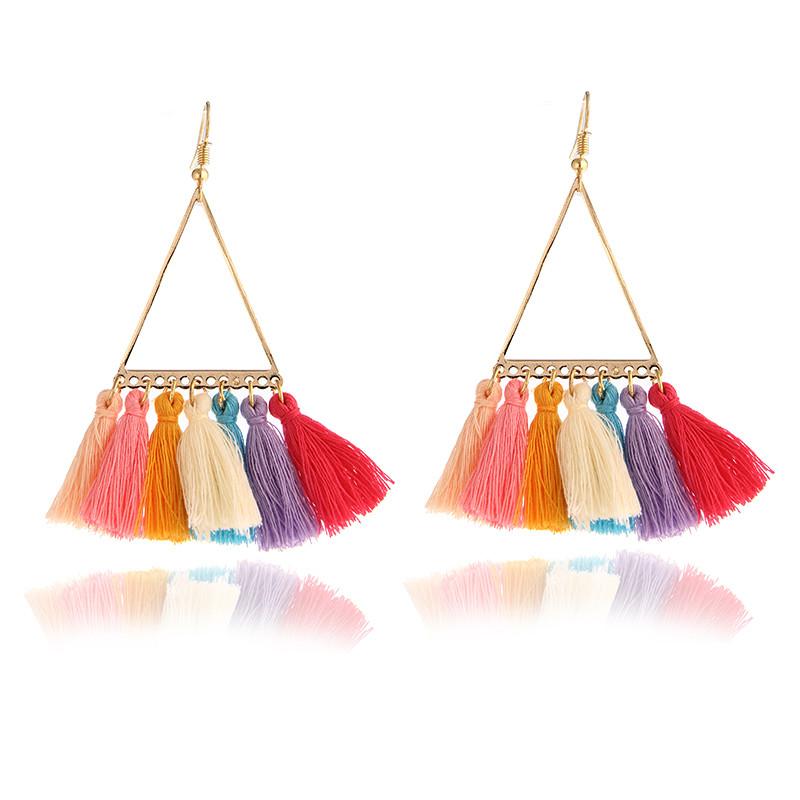 Mode-Femmes-D-claration-Gland-Boucles-D-oreilles-Boh-me-Multicolore-ethnique-Boucles-D-oreilles-Pour