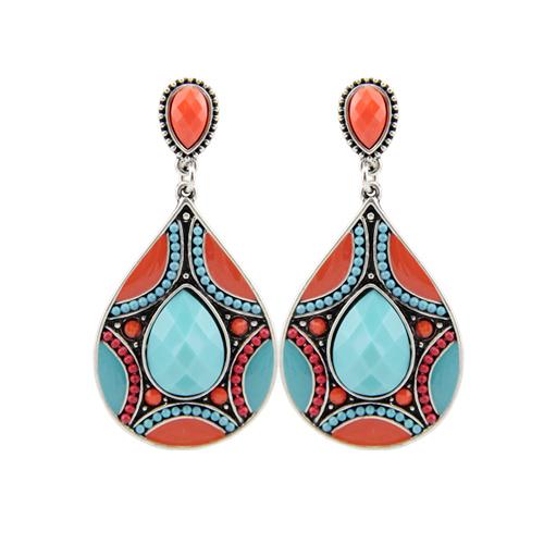 Brincos-Nouveau-Boucles-D-oreilles-Pour-Les-Femmes-Ethnique-Vintage-Argent-Couleur-Multicolore-Perle-Grand-Boh