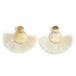 Boucles d'oreilles rondes or et franges blanches