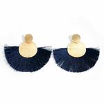 Boucles doreilles rondes or et franges bleues marine