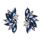 Boucles doreilles clous effet pierres de Crystal tricolores bleues noires grises