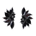 Boucles doreilles clous effet pierres de Crystal noires