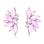 Boucles doreilles clous effet pierres de Crystal roses pâles