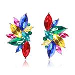 Boucles doreilles clous effet pierres de Crystal multicolores roses rouges bleues jaunes vertes