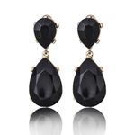 Boucles doreilles effet pierres de Crystal noires