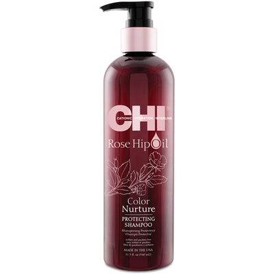 CHI Rose Hip Oil Protecting Shampoo - 340 ml - Ravive l'éclat de la couleur