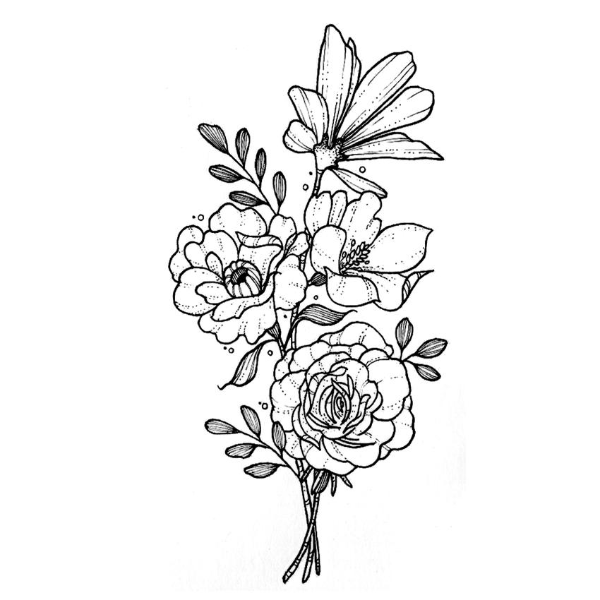 Bouquet de fleurs tatouage 9.8 cm - IDÉES CADEAUX/Tatouages éphémère - ETOILE HARMONIE