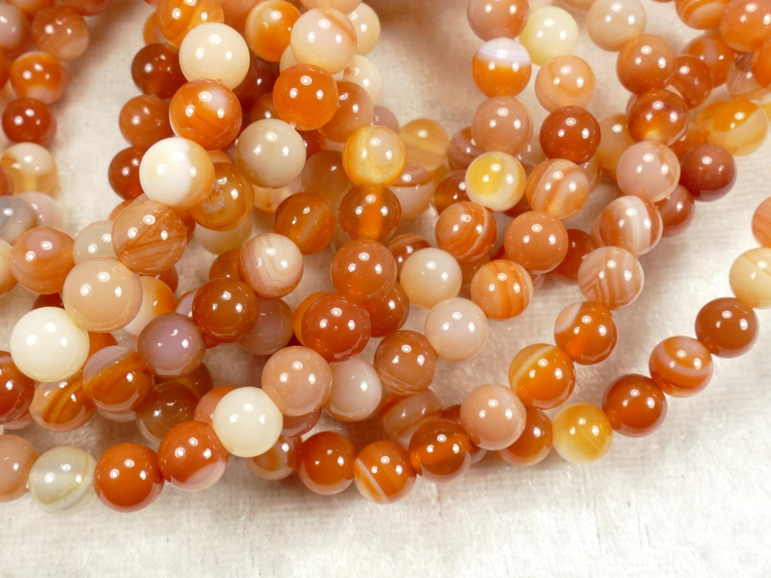 6.3mm x40 Perles de Cornaline (Agate) naturelle boule / ronde (#AC715)