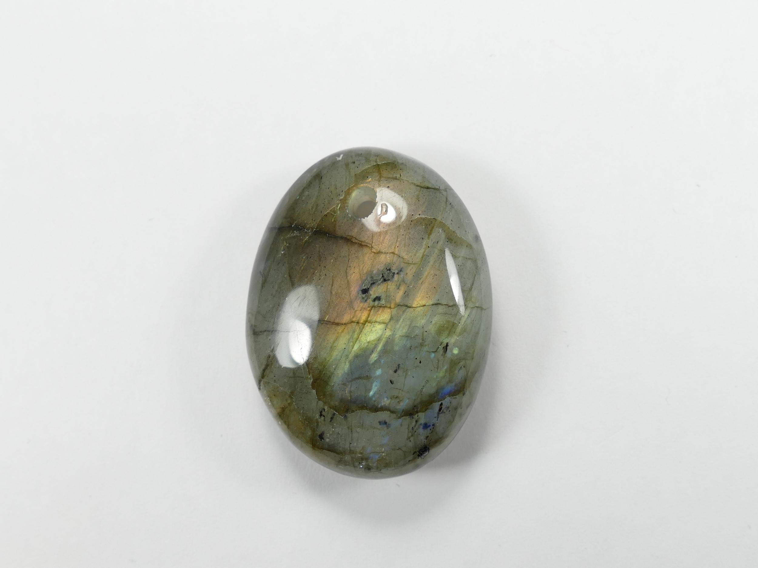 35.8mm Galet percé de Labradorite naturelle en morceau roulé poli de Madagascar perle (#PK303)