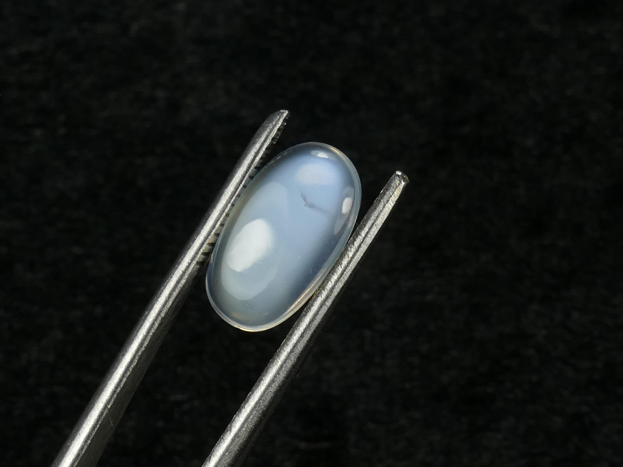 11.7x7mm Sri Lanka véritable Pierre de lune bleue léger 1.40ct cabochon ovale Ceylan (#PM3)