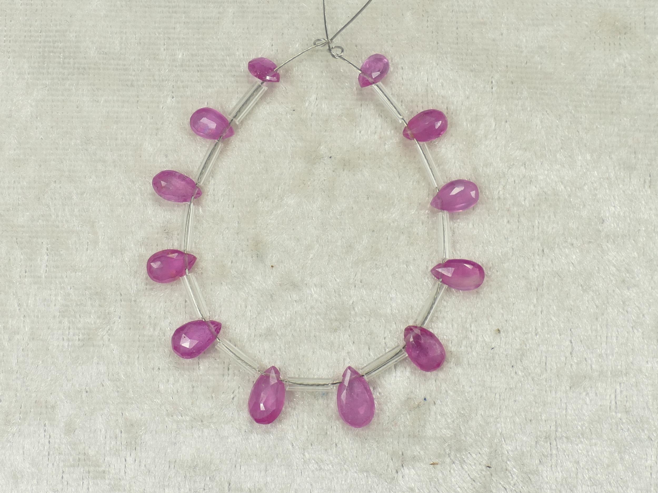 12 Perle de Saphir rose précieux naturel 9.16ct goutte plate facetté (#PK430)