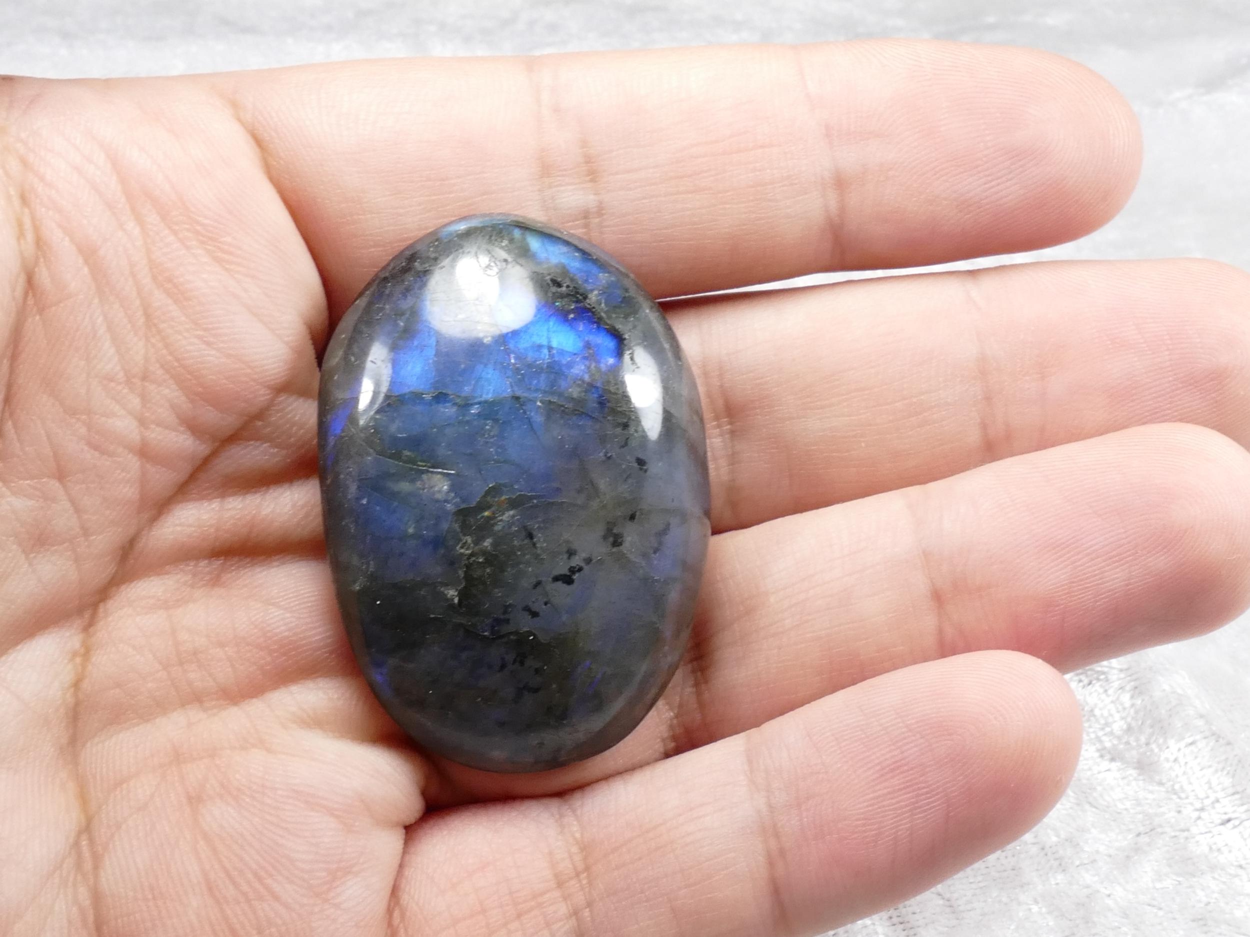 46.2mm Galet de Labradorite naturelle morceau roulé Madagascar bleu (#PM290)