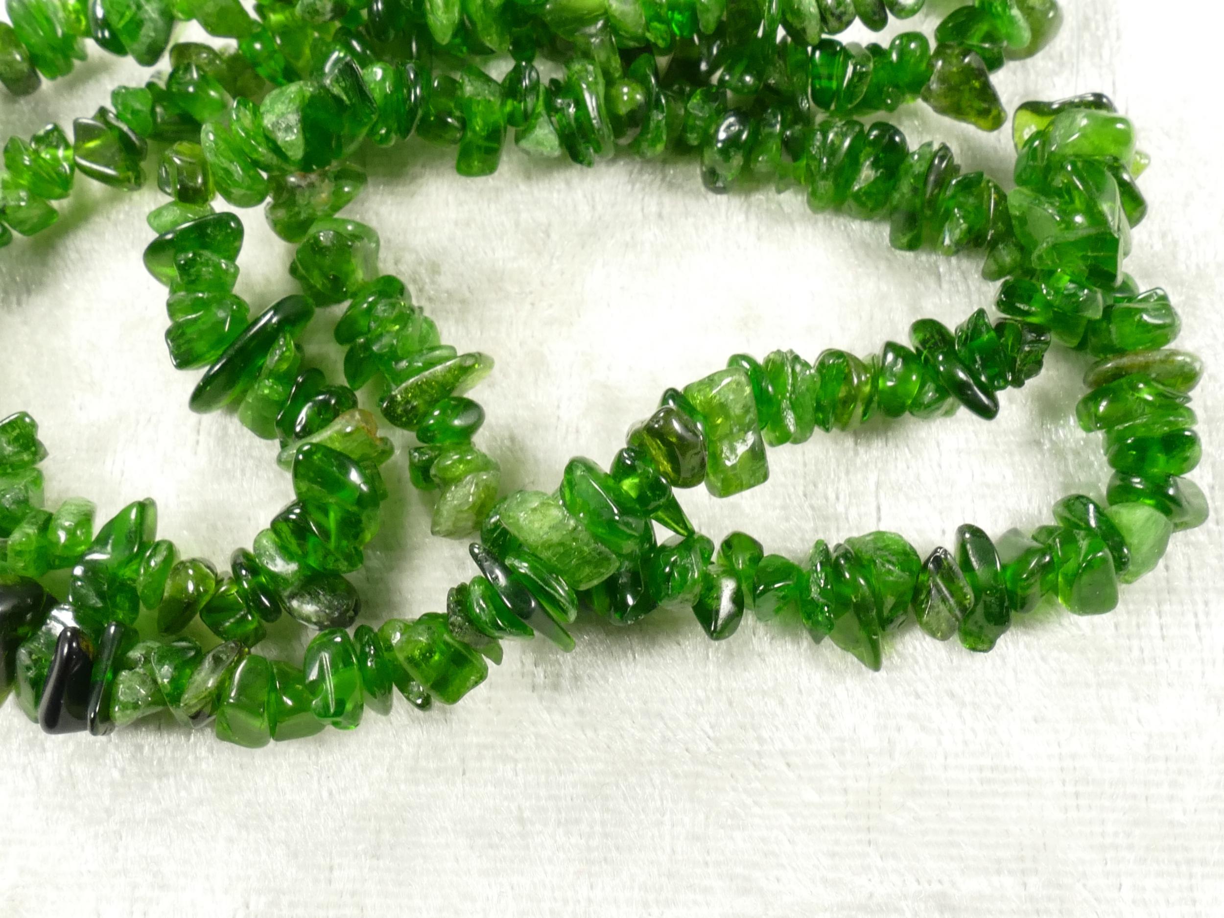5/8mm Perle de Diopside Chromifère brute roulée de Sibérie x20cm (7.8inch) (#AC247)