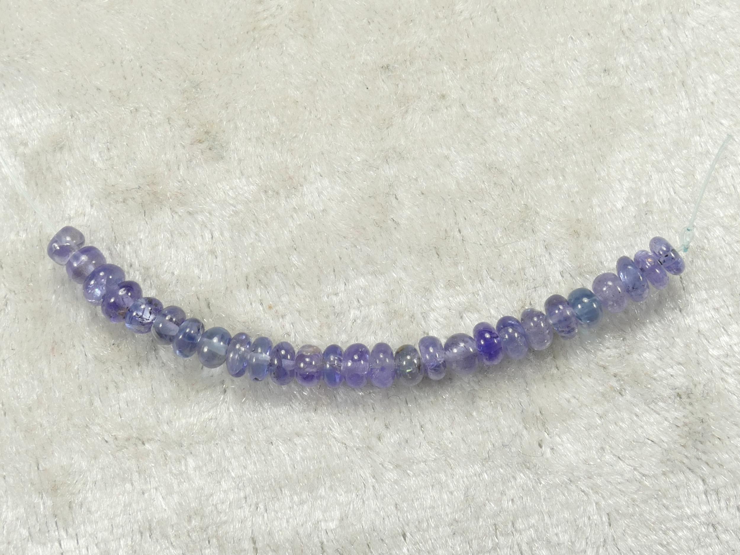 3.2/3.7mm Perles de Tanzanite naturelle en rondelle lisse de Tanzanie 5cm (#PK810)